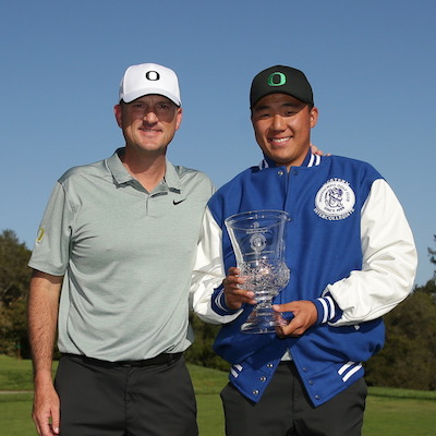 2018 medalist Norman Xiong (Oregon) with his coach, Casey Martin