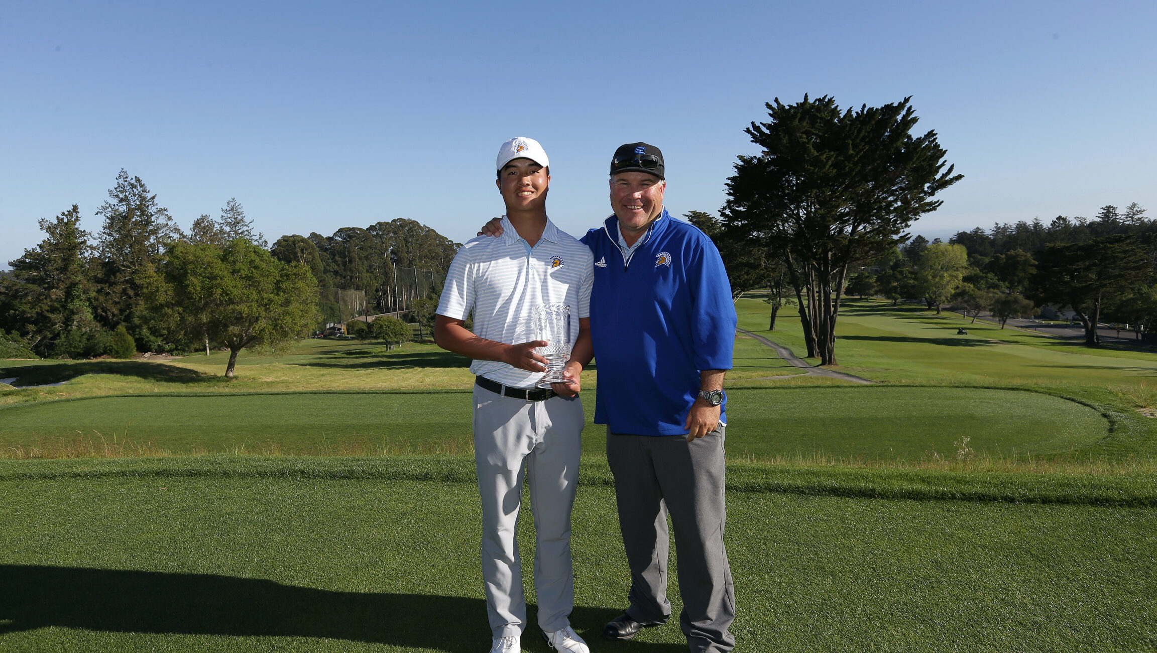 2nd Place Individual Sean Yu of San Jose State, with Head Coach John Kennaday